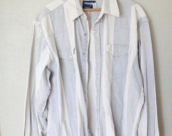 vintage wrangler western white & gray cowboy pearl snap button up shirt