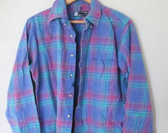 vintage pendelton pink blue & turquiose plaid flannel button up shirt *