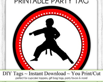 Boy Karate Birthday Tag Printable, DIY Cupcake Topper, Instant Download