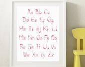 Pink Flamingos Alphabet, ABC print, 18 x 24 poster