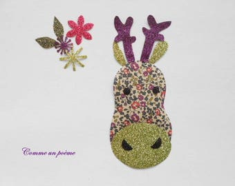 Applied fusible little reindeer liberty eloise plum and Brown