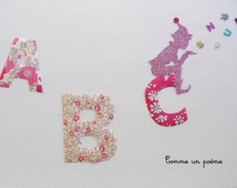 Large applied fusible ABCs of the pink Pixie