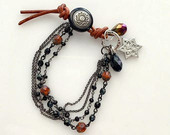Brown and Black Leather and Beaded Bracelets - Small Multi-Strand Rosary Style Beads and Chain Bracelet