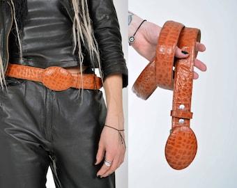 Vintage 90's Real Leather Billet Belt