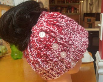 Crocheted messy bun ear warmer