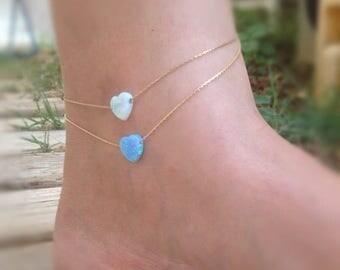 SALE Opal anklet, heart ankle bracelet, beach anklet,opal heart anklet,opal jewelry,gold anklet,gift for her-22000