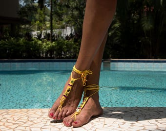 boho crochet embroiderie barefoot sandals
