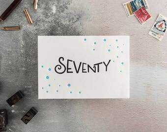 Seventy Letterpress Birthday Card