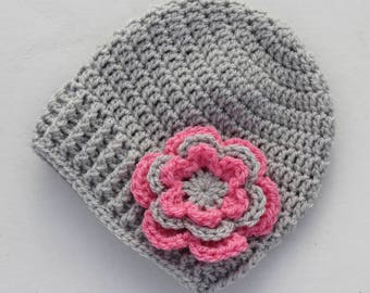Grey and pink baby hat, crochet baby hat, baby girl hat, girl hat, infant hat, crochet beanie, baby beanie - MADE TO ORDER