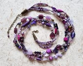 HYACINTH statement necklace 3-strand purple lavender hand-knotted beaded bohemian OOAK wearable art/festival necklace SusanRodebushArts