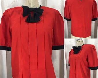 Vintage 1980's Red Pleated Blouse w/ Bow