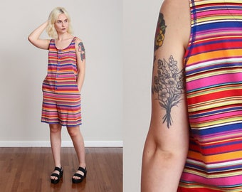 1980s Esprit Striped Rainbow Jumper Romper - Button Down - Pockets - Cozy - Beachwear • M/L