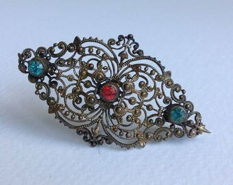 Beautiful Vintage Czech style Wirework Brooch/Pin - Turquoise & Red  Rhinestone - Gifts for Her