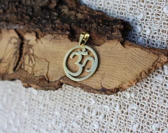 Ohm Brass Pendant, 3D Brass Pendant, Spiritual Jewellery, Tribal Brass Pendant, Sacred Geometry, Pendentif Laiton