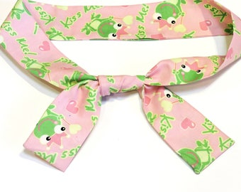 Pink Frog Prince Cooling Scarf, Kiss Me Gel Neck Cooler Bandana, Stay Cool Tie Headband Wrap, Heat Relief Hot Flash Hairband  iycbrand