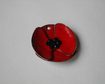 Red poppy for jewelry making
