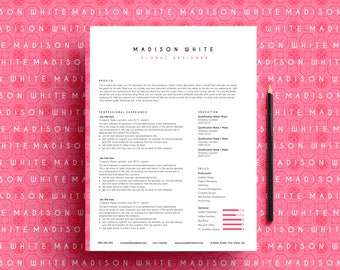 resume template ms word, CV template, professional resume, Maidson resume, pink resume
