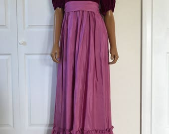 1980s Prom Bridesmaid Dress Purple Velvet Sweetheart Taffeta Maxi Gown Size XS/S