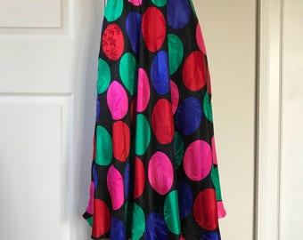 1980s Silk Skirt Polka Dot Size M