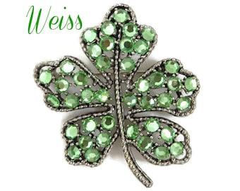 Rhinestone Shamrock Brooch - Vintage Weiss Emerald Green Rhinestone Silver Tone Brooch, Gift idea, Gift Box