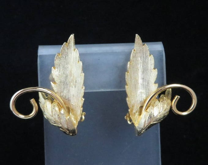Signed ROMAN Earrings, Vintage Goldtone Leaf Earrings, Designer Clip-on Earrings, Gift for Her