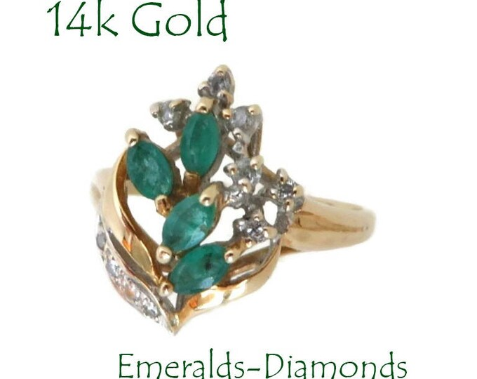 Emerald - 14K Gold Emerald & Diamond Ring, Vintage Estate Cocktail Ring, Size 5, FREE SHIPPING