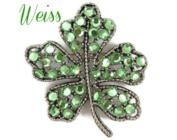 Rhinestone Shamrock Brooch - Vintage Weiss Emerald Green Rhinestone Silver Tone Brooch, Gift idea, Gift Box, FREE SHIPPING