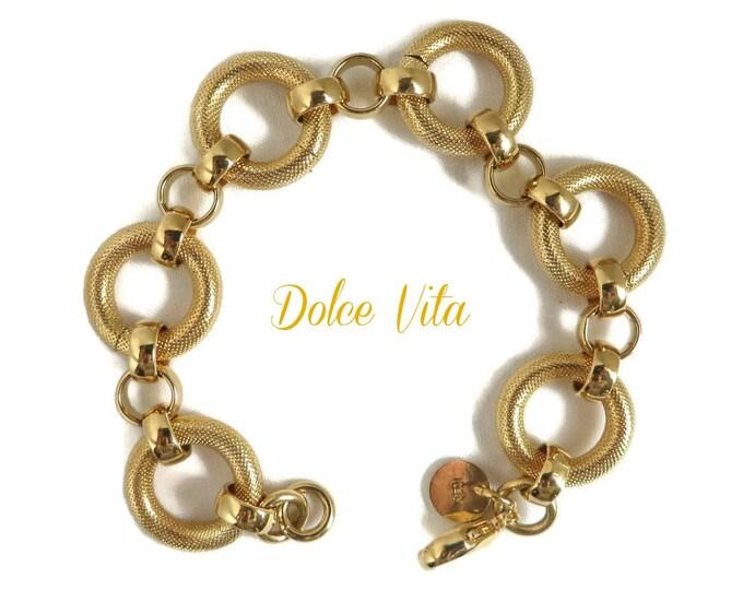 DOLCE VITA Chain Bracelet, Vintage 18k Gold Plated Textured Bracelet, Gift for Her