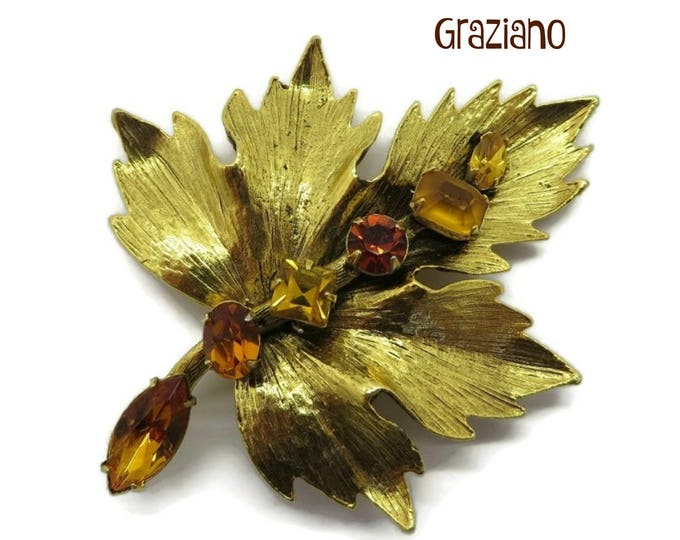 Vintage Graziano Brooch Gold Tone Amber Rhinestone Brooch, Vintage Designer Signed Estate Costume Jewelry Gift for Her