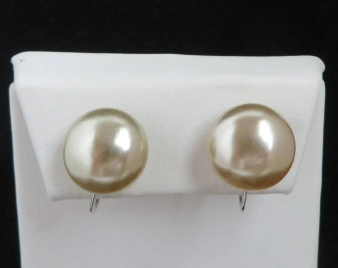 Pearl Gray Button Earrings, Vintage Sterling Silver Clip-on/Screw Back Earrings, Bridal Jewelry, Gift for Her