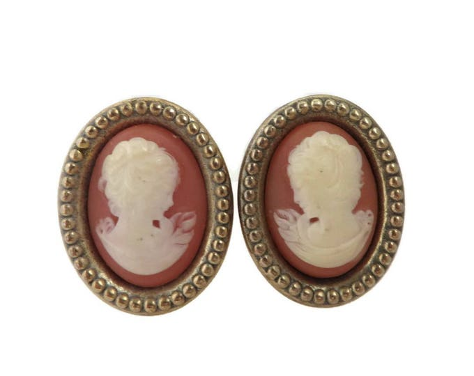 Vintage Coral Cameo Earrings | Oval Gold Tone Clip-ons