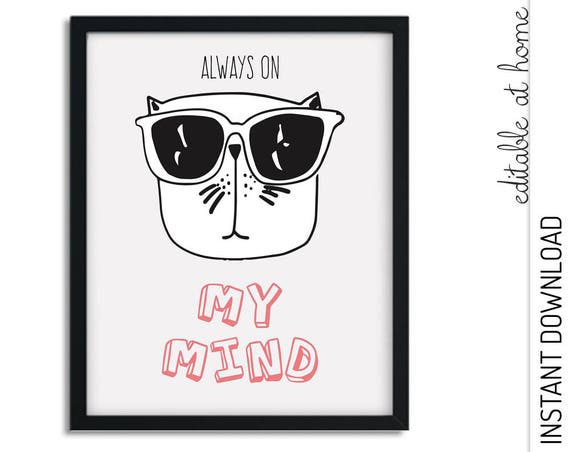 Always on My Mind Cat Nursery Wall Art INSTANT DOWNLOAD