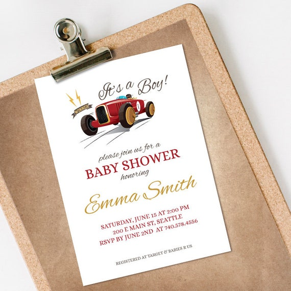 Vintage Race Car Baby Shower Invitation INSTANT DOWNLOAD