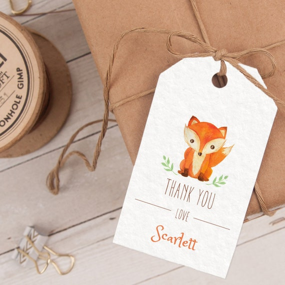 Fox Favor Tag, Fox Thank You Tag, Fox Party Favor, Fox Party Printable INSTANT DOWNLOAD editable at home