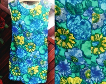 Vintage 60s Multicolored Dress - Mad Men Style - Dress of 1964