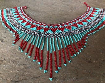Tribal Beaded Bib Necklace~ red and turquoise