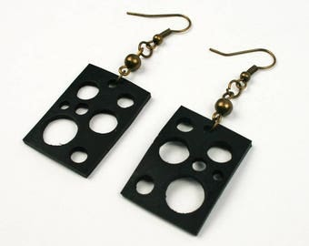 Inner tube jewelry. Black recycled earrings MOMBASA. Upcycled vegan jewelry. Eco design. Rectangular perforated earrings. Gift for her.