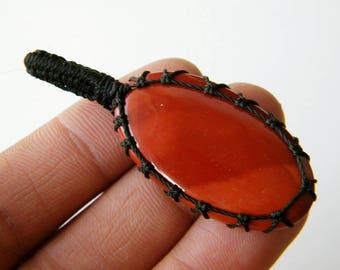 Mookaite Pendant, Mookaite Jasper Necklace, Macrame Necklace, Gift for her, Natural Gemstone, Handmade Jewelry SH-8364