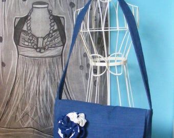 Fancy bag model fabric blue flower