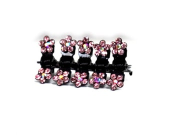 Hand Made Hair Jewelry Flower Mini Jaws swarovski crystal Petals Set of 5 Pink(SO5021-pk)