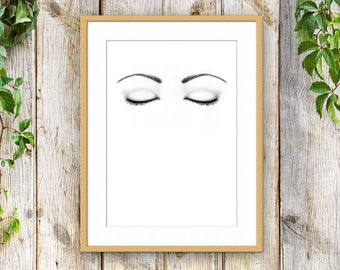 Printable Home Decor, Print at Home, Black and White, Eyes Closed Art -INSTANT DOWNLOAD Art -Printable Wall Art - Closed Eyes Printables