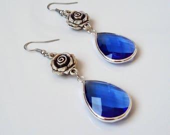 Blue earrings, romantic earrings, pendant earrings, crystal earrings, flower earrings, gift idea, gift for her, fancy jewels