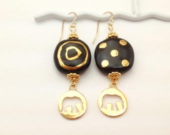 elephant earrings, Kazuri beads, black and gold earrings, African jewelry, mismatched earrings, Fair Trade, non profit, Kenya, ceramic beads