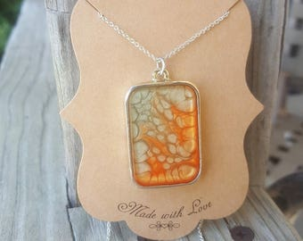 Bezel charm necklace square bezel charm silver bezel bezel necklace effect paintb orange square charms silver Mother's Day gift presents mom