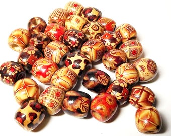 Wooden Beads, Barrel, Round, Mixed Color, 16mm long, hole 8mm