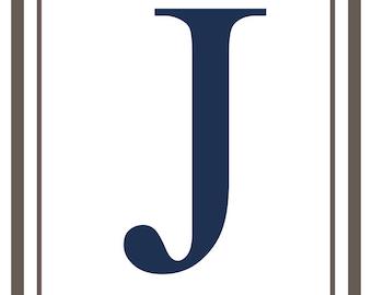 Monogram - Estate - Gray & Blue - J (Art Print - Multiple Sizes Available)