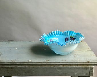 Blue Ruffle Fenton Style Turqouis Bowl / Turquoise Ruffle Bowl / Hand Painted Glass Bowl