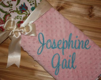 Floral- Personalized Minky Baby Blanket - Floral / Pink Minky - Embroidered Name
