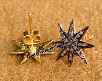 Vintage Estate 1.19Ct Natural Pave Rose Cut Diamond .925 Sterling Silver Jewelry Star Earring Studs