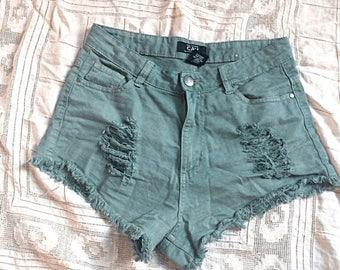 SUMMER SALE Olive Green Frayed Shorts